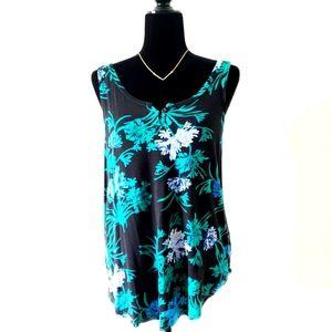 Tropical Tank RICKI'S Floral Blue Green